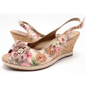 Hotter Hattie Floral Slingback Cork Wedge Sandals